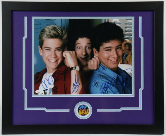 Mario Lopez Mark-Paul Gosselaar & Dustin Diamond Framed Signed 11x14 Photo JSA V