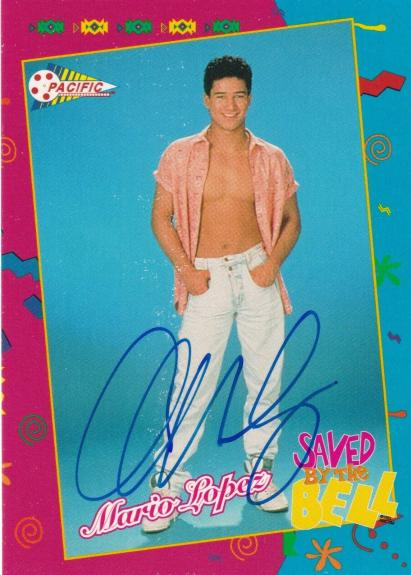 Mario Lopez Signed 1992 Pacific Saved By The Bell Rookie Card #107 RC Autograph