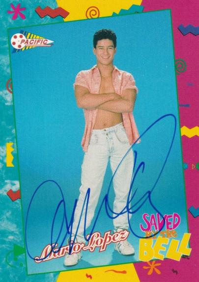 Mario Lopez Signed 1992 Pacific Saved By The Bell Rookie Card #58 RC Autograph