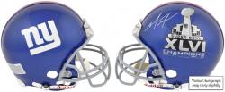 New York Giants Mario Manningham Super Bowl XLVI Autographed Riddell Pro Line Helmet - Mounted Memories