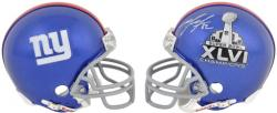 New York Giants Mario Manningham Super Bowl XLVI Autographed Mini Helmet - Mounted Memories