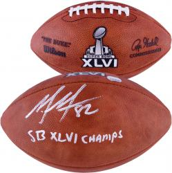 New York Giants Mario Manningham Super Bowl XLVI Autographed Pro Football with ''SB XLVI CHAMP'' Inscription - Mounted Memories