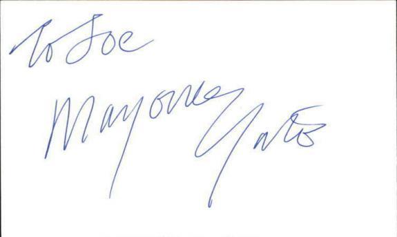 "MARJORIE YATES SHAMELESS Signed 3""x5"" Index Card"