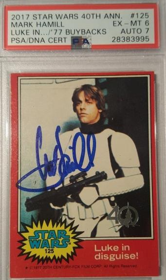 Mark Hamill 2017 1977 Star Wars Topps Buyback Signed PSA EX-MT AUTHENTIC AUTO