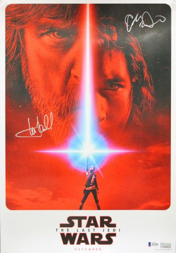 Mark Hamill & Adam Driver Star Wars The Last Jedi Signed 13x19 Poster BAS A11528