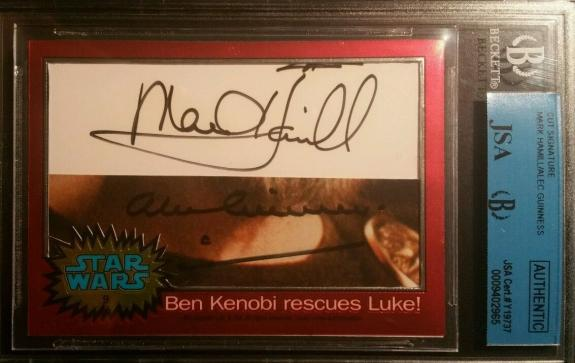 Mark Hamill Alec Guinness Topps AUTO Signed Autograph Star Wars Chrome JSA BGS