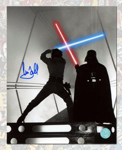 Mark Hamill Autographed Luke Skywalker Darth Vader Battle Star Wars 8x10 Photo