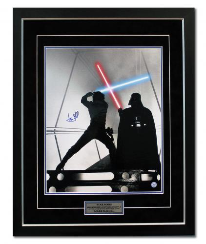 Mark Hamill Autographed Luke Skywalker Jedi Battle Star Wars 31x25 Premium Frame