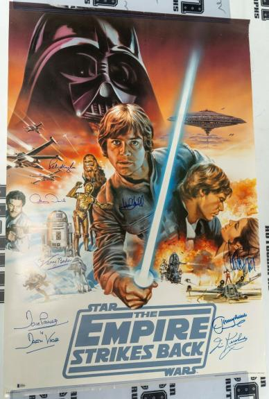 Mark Hamill Carrie Fisher +6 Signed Star Wars Empire Strikes Back Poster BAS COA