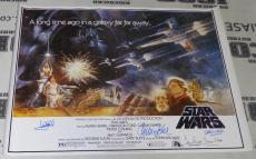 Mark Hamill & Carrie Fisher Kenny Baker +3 Cast Signed Star Wars Poster BAS COA