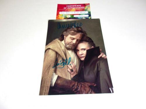 Mark Hamill Carrie Fisher Luke Skywalker Princess Leia W/coa Signed Photo