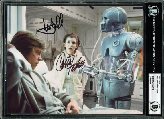 Mark Hamill & Carrie Fisher Signed 8x10 Photo Auto Graded Gem 10! BAS Slabbed