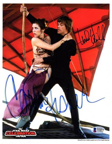 MARK HAMILL & CARRIE FISHER Signed STAR WARS 8x10 Photo BECKETT BAS #A73073