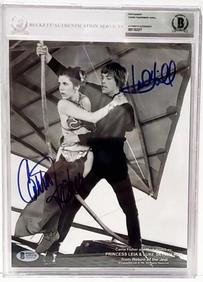 MARK HAMILL & CARRIE FISHER Signed Star Wars Autographed 8x10 Photo BAS Slabbed