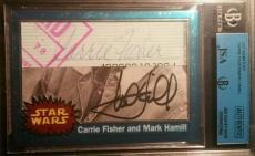 Mark Hamill Carrie Fisher Topps AUTO Signed Autograph Star Wars Chrome JSA BGS