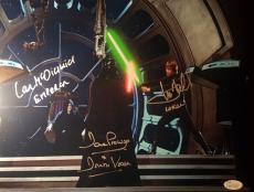 Mark Hamill David Prowse Ian McDiarmid Star Wars Signed 11x14 Photo JSA COA