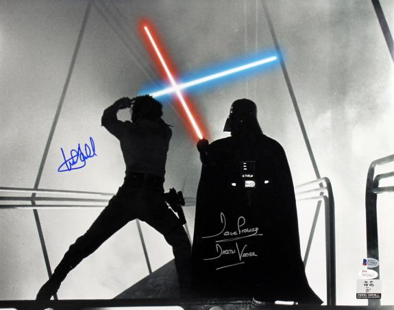 Mark Hamill & David Prowse Star Wars Signed 16X20 Photo BAS