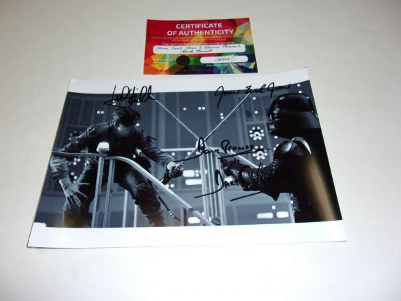 Mark Hamill James Earl Jones David Prowse Star Wars W/coa Signed Photo
