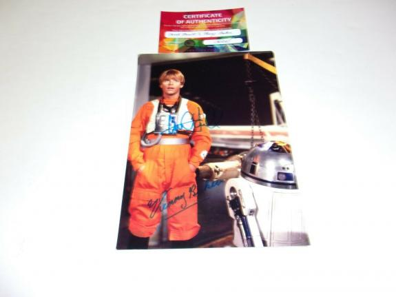 Mark Hamill Kenny Baker Luke Skywalker R2d2 Star Wars W/coa Signed Photo