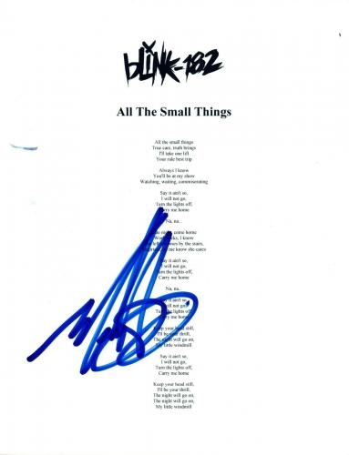 """Mark Hoppus Signed Autograph Blink 182 """"All The Small Things"""" Lyric Sheet COA"""