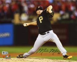 Mark Melancon Pittsburgh Pirates Autographed 8'' x 10'' Pitching in Black Jersey Photograph