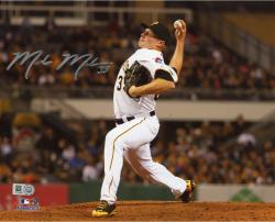 Mark Melancon Pittsburgh Pirates Autographed 8'' x 10'' Pitching in White Jersey Photograph