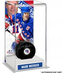 Mark Messier New York Rangers Autographed Puck with Deluxe Tall Hockey Puck Case