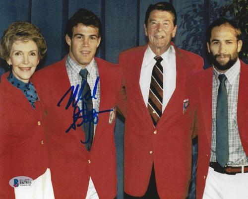 Mark Schultz Signed 8x10 Photo BAS COA 1984 Olympic Wrestling Ronald Reagan Dave