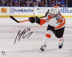 "Mark Streit Philadelphia Flyers Autographed White Jersey Shooting 8"" x 10"" Photograph"