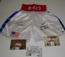 Mark Wahlberg and Micky Ward signed The Fighter dual boxing trunks shorts ASI