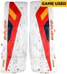 Jacob Markstrom Florida Panthers Game-Used Hockey Goalie Bauer White Leg Pads