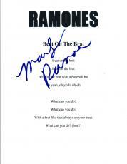 Marky Ramone Signed Autograph The Ramones BEAT ON THE BRAT Song Lyric Sheet COA