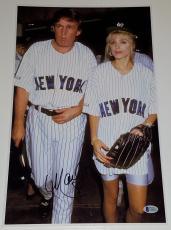 MARLA MAPLES Signed 11x17 Photo New York Yankees Jersey w/ Donald Trump BAS COA