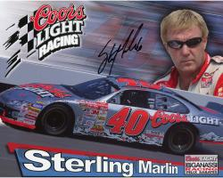 Sterling Marlin Autographed 8'' x 10'' Coors Light Coors Glasses On Photograph