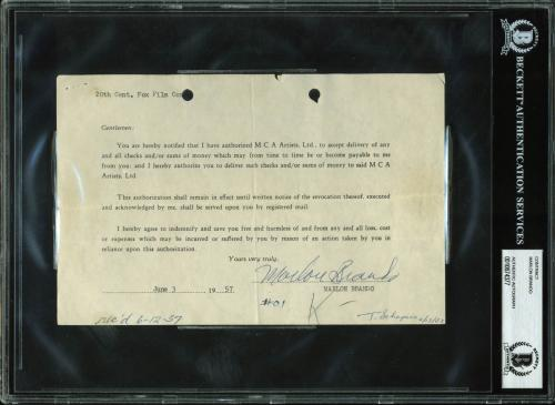 Marlon Brando Signed 5.5x8.5 Contract Dated June 3, 1957 BAS Slabbed