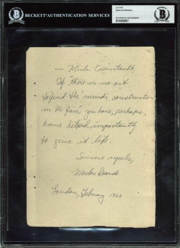 Marlon Brando Signed 6.25x8.75 1966 Handwritten Shakespeare Quote BAS Slabbed