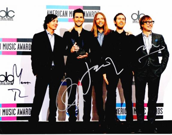 Adam Levine - Maroon 5 Signed - Autographed Complete Group 11x14 inch Photo - James Valentine, Matt Flynn, Jesse Carmichael, and Mickey Madden - Guaranteed to pass BAS