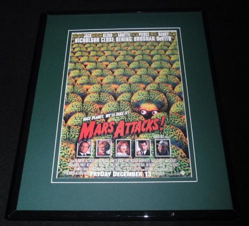 Mars Attacks Framed 11x14 Repro Movie Poster Display Jack Nicholson Glenn Close