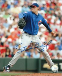 """Sean Marshall Chicago Cubs Autographed 8"""" x 10"""" Pitching Photograph"""