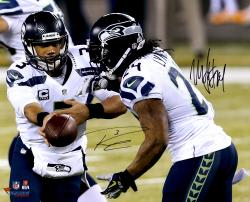 Marshawn Lynch & Russell Wilson Seattle Seahawks Super Bowl XLVIII Champions 16'' x 20'' Autographed Photo - Mounted Memories