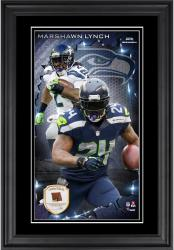 Marshawn Lynch Seattle Seahawks 10'' x 18'' Vertical Framed Photograph with Piece of Game-Used Football - Limited Edition of 250