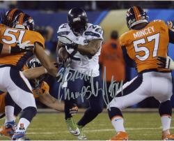 Marshawn Lynch Seattle Seahawks Super Bowl XLVIII Champions Autographed 8'' x 10'' Photo with SB XLVIII Champs Inscription - Mounted Memories