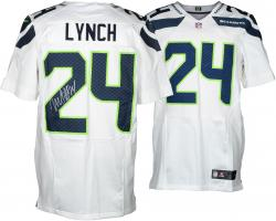 Nike Marshawn Lynch Seattle Seahawks Super Bowl XLVIII Champions Autographed Elite Jersey - White - Mounted Memories