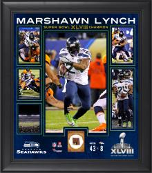 Marshawn Lynch Seattle Seahawks Super Bowl XLVIII Champions Framed 15'' x 17'' Collage with Game-Used Ball - Mounted Memories