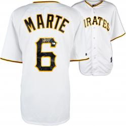 Starling Marte Pittsburgh Pirates Autographed Majestic Replica Home Jersey - Mounted Memories