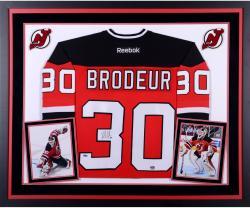 Martin Brodeur New Jersey Devils Autographed Deluxe Framed Red Reebok Premier Jersey