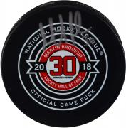 Martin Brodeur New Jersey Devils Autographed November 13, 2018 Hall Of Fame Night Official Game Puck