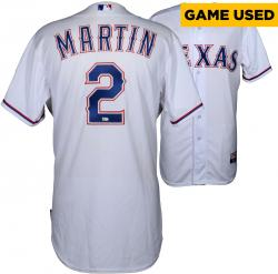 Leonys Martin Texas Rangers 4/20/14 Game-Used White Jersey - Mounted Memories