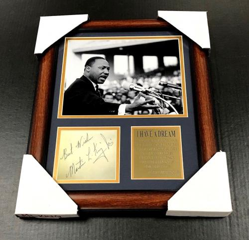 MARTIN LUTHER KING JR Autographed Cut Signature Facsimile RP Framed 8x10 Photo