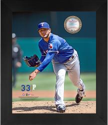 "Martin Perez Texas Rangers Framed 20"" x 24"" Gamebreaker Photograph with Game-Used Pitched Ball"